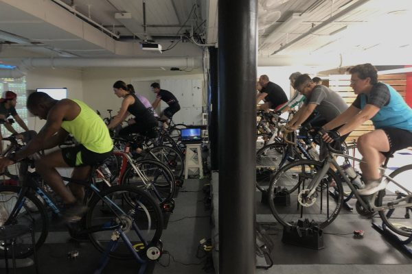 Cycling indoors at Rock & Ride In La Crosse